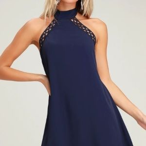 lulus any sway shape or form navy halter dress NWT